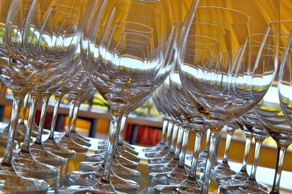 Glasses for Blending Trials at Vineyard 7 & 8 (Photo Credit: Curt Fischer)