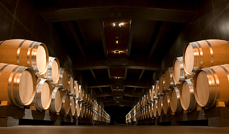 Wine Barrels in a Napa Valley Winery